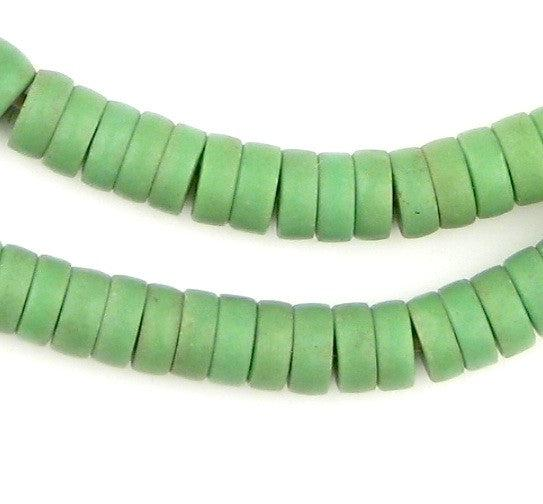 Sliced Green Prosser Button Beads (8mm) - The Bead Chest