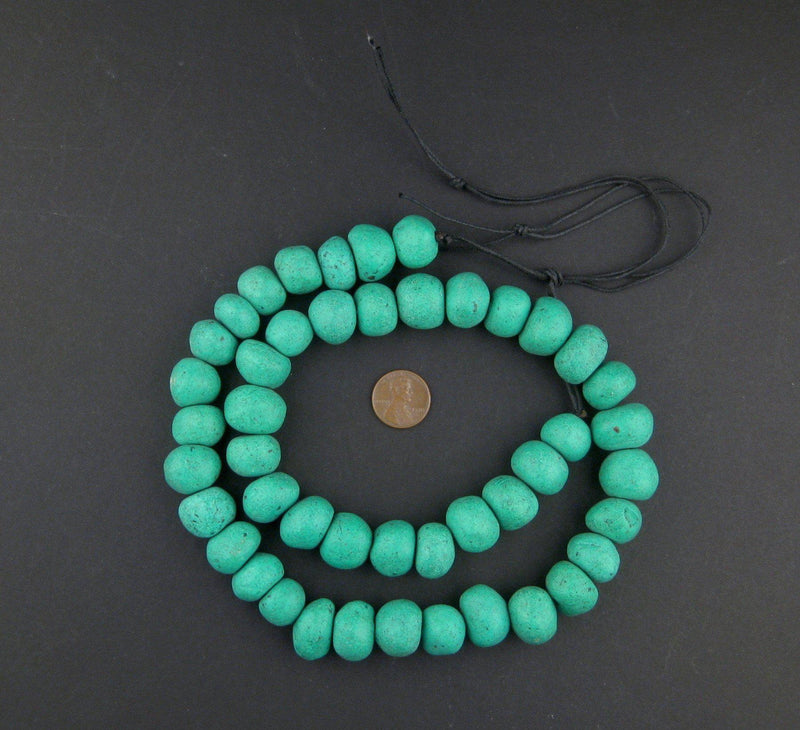 Amazonite Moroccan Pottery Beads (Round - 16mm) - The Bead Chest