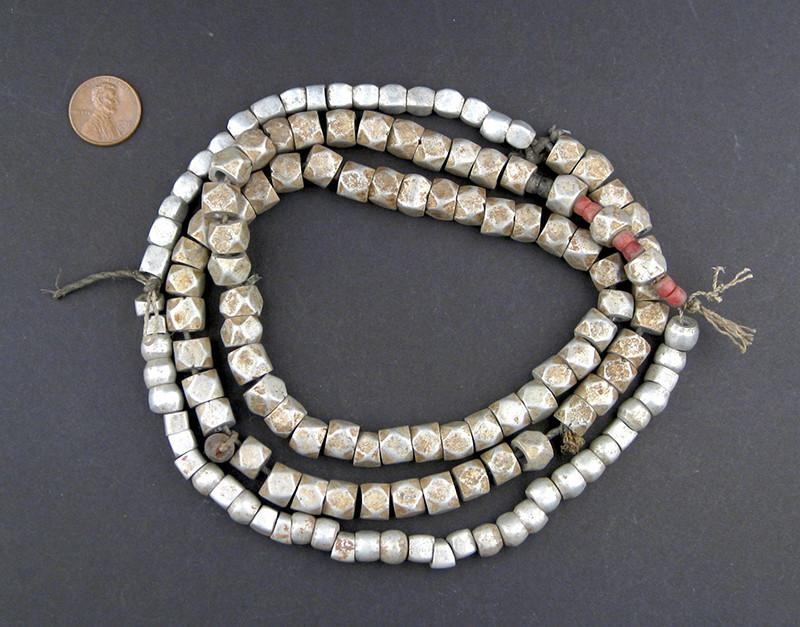 Ethiopian Aluminum Old Cube Beads - The Bead Chest