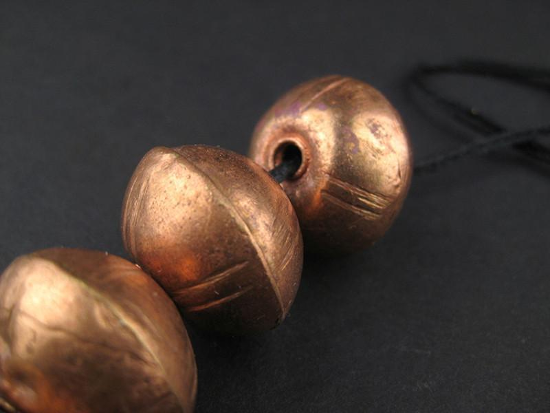 XL Ethiopian Patterned Copper Bicone Beads (17x21mm) - The Bead Chest