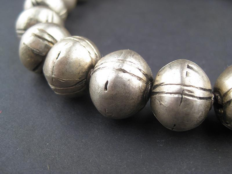 Large Ethiopian Patterned White Metal Bicone Beads (14x16mm) - The Bead Chest