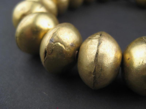 Large Ethiopian Brass Bicone Beads (11x14mm)