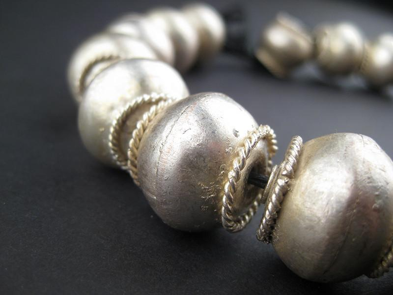 XL Ethiopian Bezeled White Metal Bicone Beads (17x20mm) - The Bead Chest