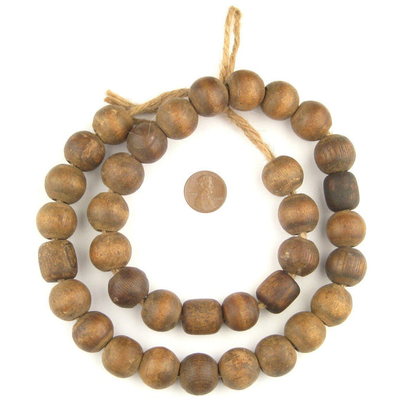 Round Antique Wood Prayer Beads