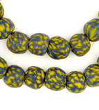 Blue & Yellow Fused Recycled Glass Beads (14mm)