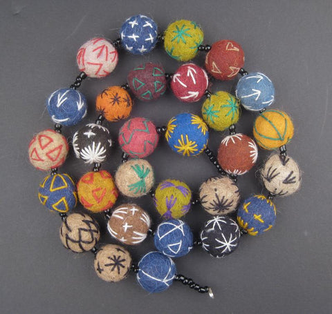 Image of Embroidered Moroccan Felt Beads - The Bead Chest