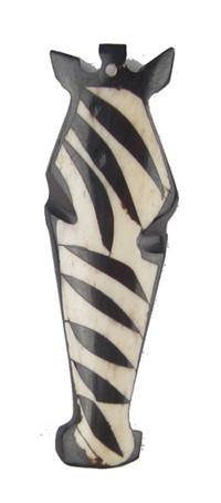 Batik Bone Zebra Head Pendant - The Bead Chest