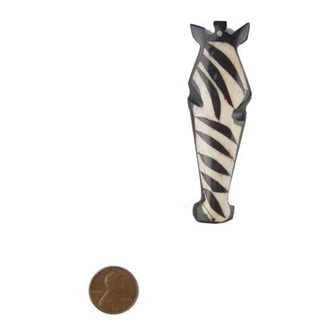 Image of Batik Bone Zebra Head Pendant - The Bead Chest