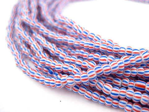 Hank Tiny Red Blue Chevron Beads (6 Strands) - The Bead Chest