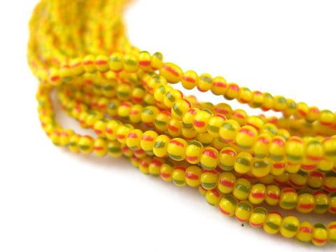 Hank Tiny Yellow Chevron Beads (6 Strands) - The Bead Chest