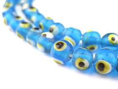 Teal Blue Evil Eye Beads (6mm)