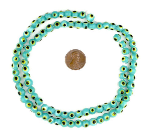 Image of Aqua Blue Evil Eye Beads (6mm) - The Bead Chest