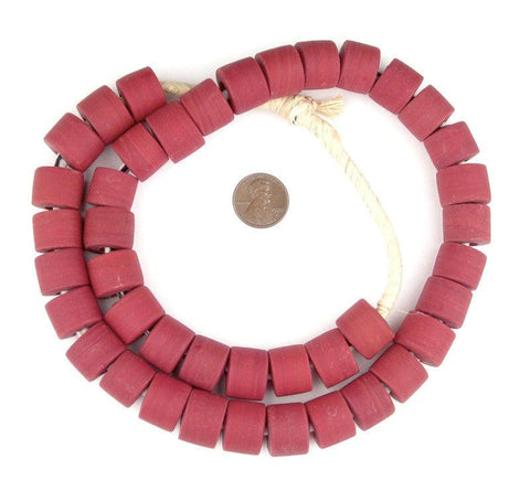Image of Brick Red Recycled Glass Beads (Tabular) - The Bead Chest
