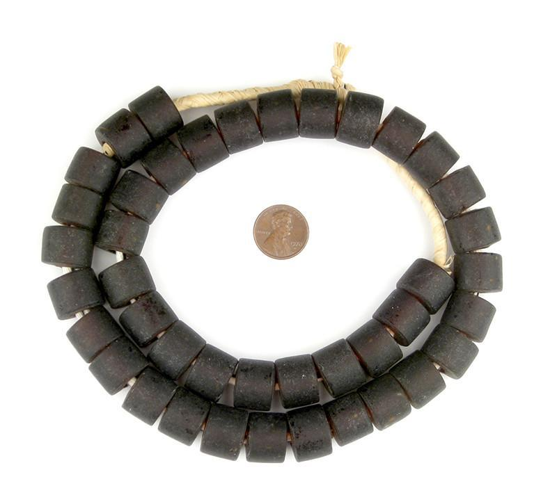 Charcoal Brown Recycled Glass Beads (Tabular) - The Bead Chest