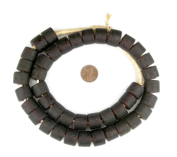 Charcoal Brown Recycled Glass Beads (Tabular)