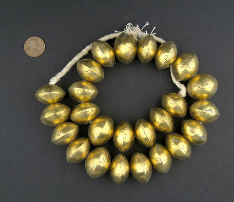 Mali Brass Saucer Bicone Beads (20x25mm) - The Bead Chest