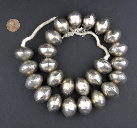 Mali Silver Saucer Bicone Beads (20x26mm) - The Bead Chest