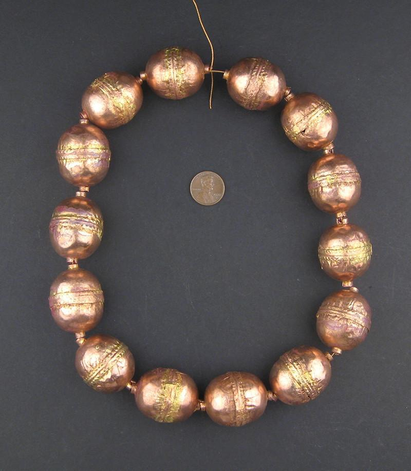 Jumbo Artisanal Ethiopian Copper Beads (Strand) - The Bead Chest