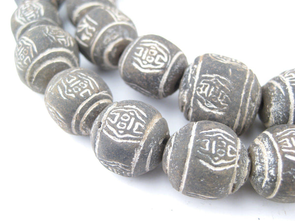 Black Terracotta Mali Clay Round Beads (16mm)