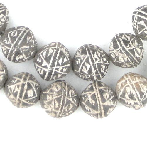 Black Terracotta Mali Clay Bicone Beads (16mm) - The Bead Chest