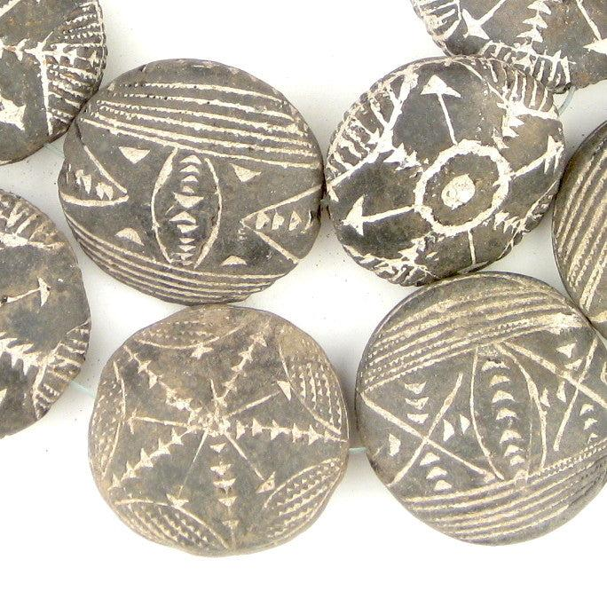 Black Terracotta Mali Clay Medallions (17x42mm) - The Bead Chest