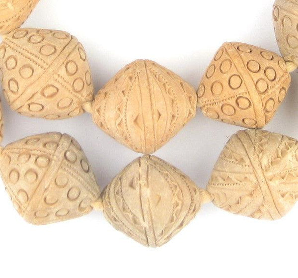 Natural Terracotta Mali Clay Bicone Beads (30x26mm) - The Bead Chest