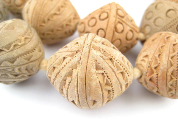 Natural Terracotta Mali Clay Bicone Beads (30x26mm)
