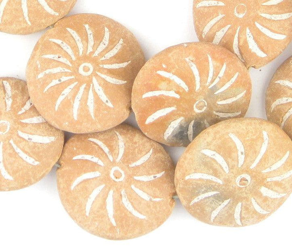 Striped Natural Terracotta Mali Clay Medallions (17x45mm) - The Bead Chest