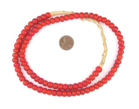 Red White Heart Beads (7mm) - The Bead Chest