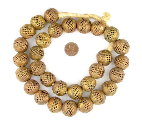 Image of Brass Filigree Globe Beads (20mm) - The Bead Chest
