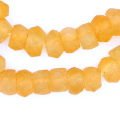Tangerine Orange Faceted Recycled Java Sea Glass Beads
