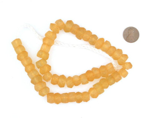 Tangerine Orange Faceted Recycled Java Sea Glass Beads - The Bead Chest