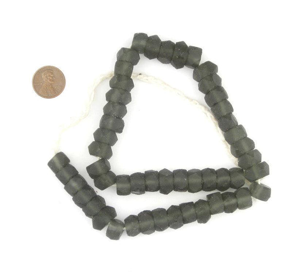 Charcoal Faceted Recycled Java Sea Glass Beads