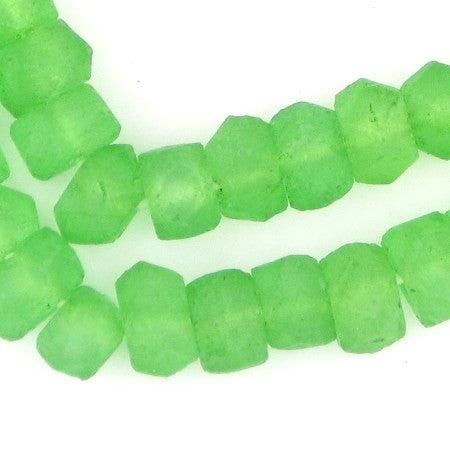 Verdant Green Faceted Recycled Java Sea Glass Beads - The Bead Chest