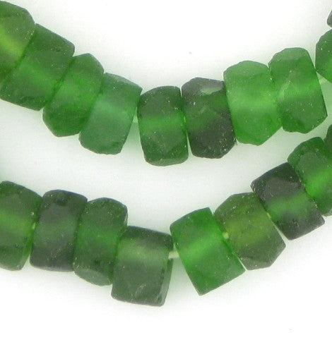 Green Faceted Recycled Java Sea Glass Beads - The Bead Chest