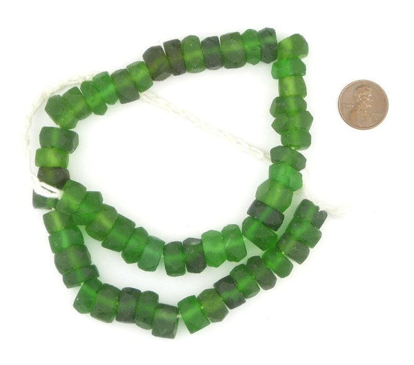 Green Faceted Recycled Java Sea Glass Beads