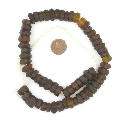 Dark Brown Faceted Recycled Java Sea Glass Beads - The Bead Chest