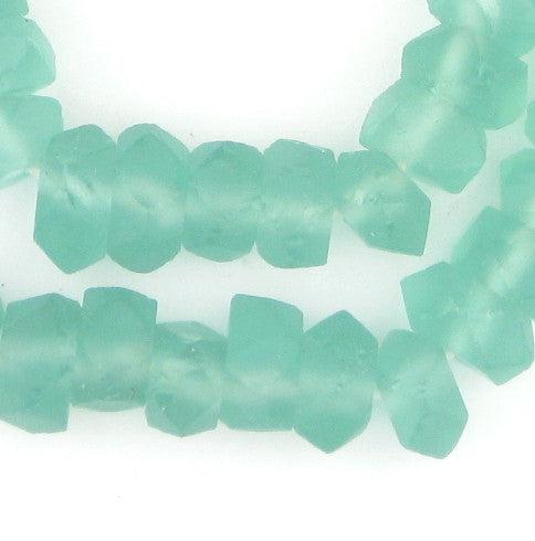 Clear Marine Faceted Recycled Java Sea Glass Beads - The Bead Chest