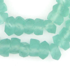 Clear Marine Faceted Recycled Java Sea Glass Beads