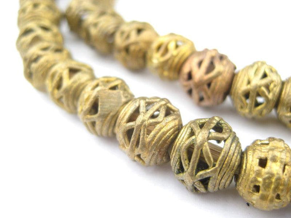 Criss Cross Brass Filligree Mini-Globe Beads (9mm)