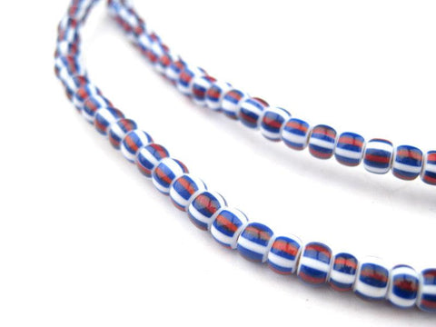 Red White and Blue Striped Chevron Beads - The Bead Chest
