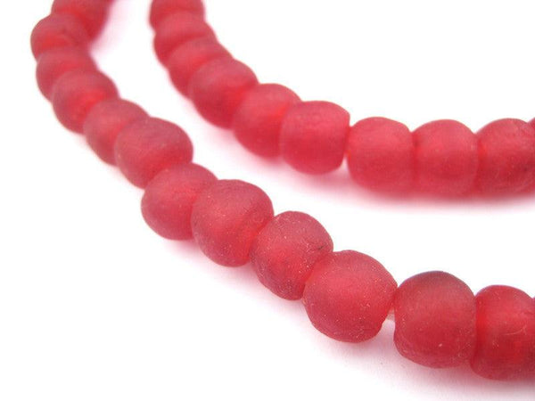 Red Recycled Glass Beads (9mm)