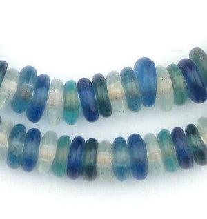 Ocean Medley Rondelle Recycled Glass Beads - The Bead Chest