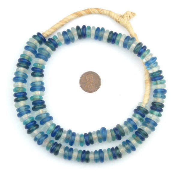 Ocean Medley Rondelle Recycled Glass Beads