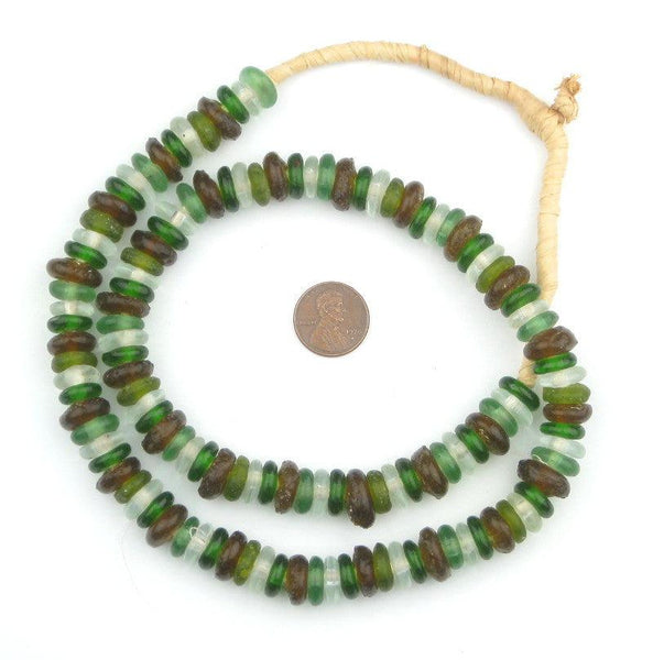 Earth Medley Rondelle Recycled Glass Beads