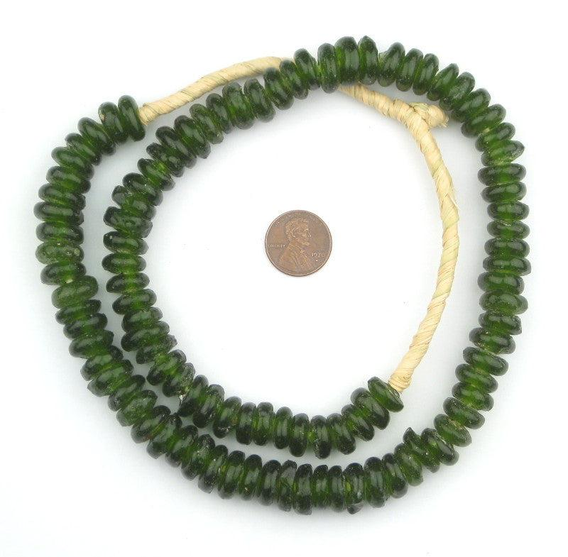 Olive Green Rondelle Recycled Glass Beads - The Bead Chest