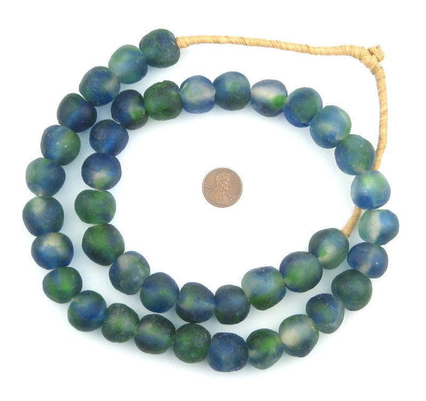 Light Blue Green Swirl Recycled Glass Beads (18mm)