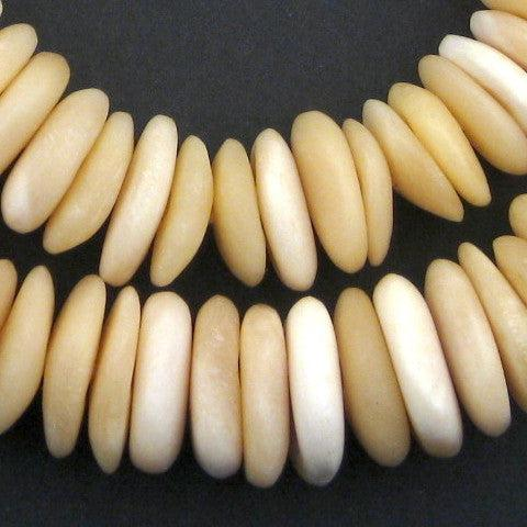 Ivory White Graduated Camel Bone Disk Beads - The Bead Chest