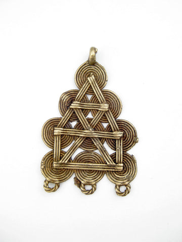 Image of Geometric Design Baule Brass Pendant - The Bead Chest