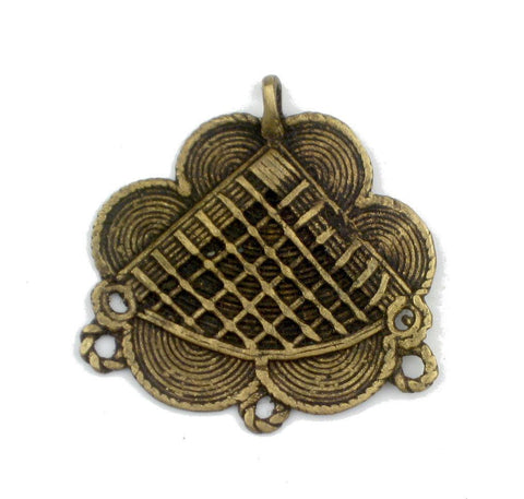 Image of Flower Design Baule Brass Pendant - The Bead Chest